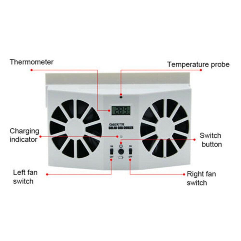 Car Fan Solar Window Sun Powered Fan Cooling Fan Energy Saving cooler Fan Car Auto Air Vent Cool Cooling System Radiator