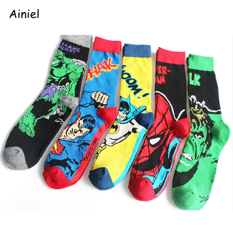 Superhero Spiderman Captain America Deadpool Batman Long Socks Stockings Fashion Autumn Winter Student Cosplay Costume Adult Men