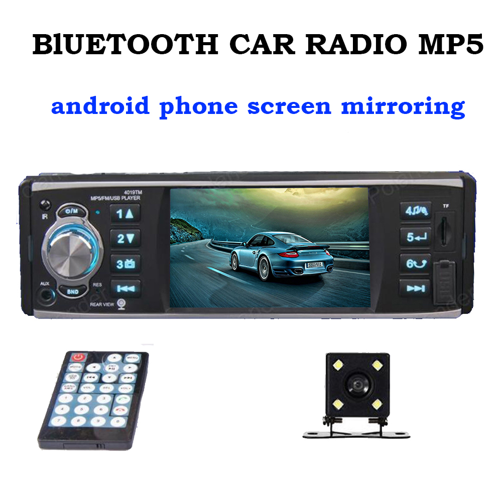 Bluetooth car radio MP5 Mp4 player android phone screen mirroring audio stereo 4 inch 1 din with rear view camera 9 languages