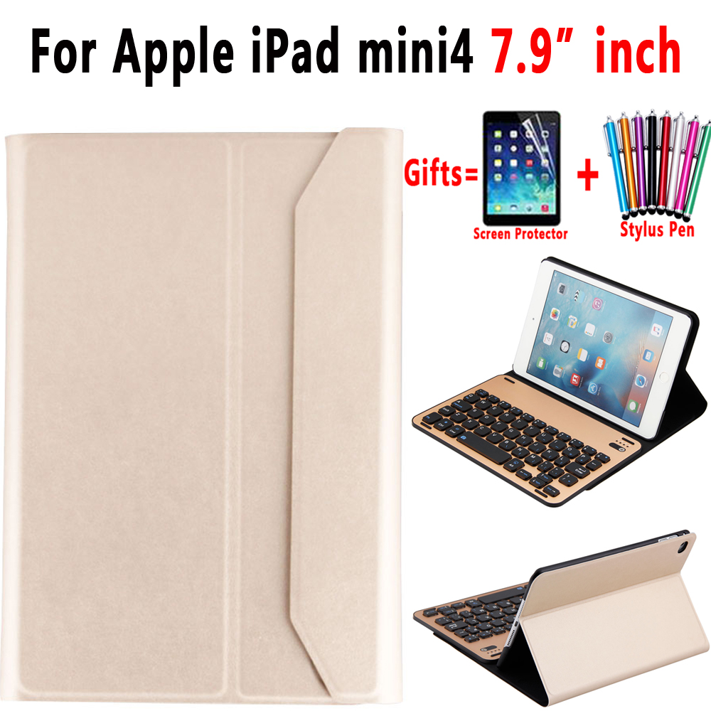 Aluminum Alloy Removable Wireless Bluetooth Keyboard Smart Leather Case Cover for Apple iPad mini 4 7