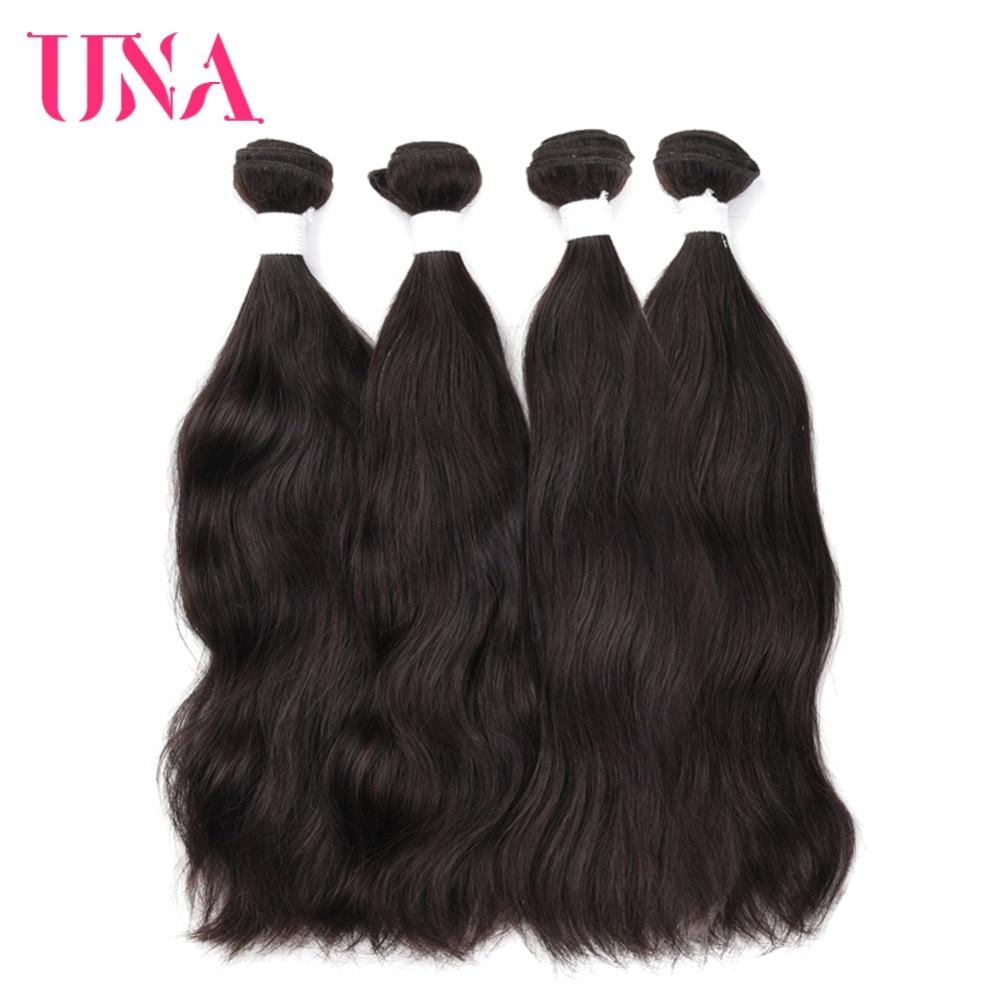UNA Brazilian Natural Hair Weaves 4 Bundles Deal Natural Color Human Hair Weaves Non Remy Natural