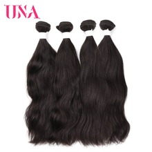 UNA Brazilian Natural Hair Weaves 4 Bundles Deal Natural Color Human Hair Weaves Non Remy Natural Wave Hair Bundles 8-26 Inches platinum natural color 12 inches