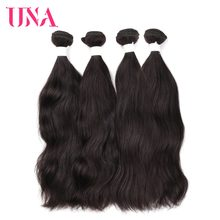 UNA Brazilian Natural Hair Weaves 4 Bundles Deal Natural Color Human Hair Weaves Non Remy Natural Wave Hair Bundles 8-26 Inches(China)