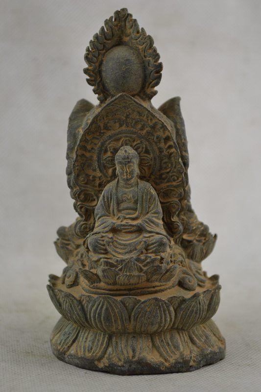 Vecchia Lavoro Manuale Rame Carving 3 Buddha Rare Esorcizzare Efficaci Grande StatuaVecchia Lavoro Manuale Rame Carving 3 Buddha Rare Esorcizzare Efficaci Grande Statua