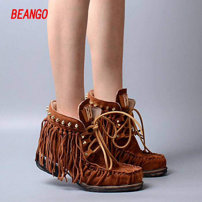 BEANGO Brown Suede Tassel Short Boots For Women Lace-up Front Ankle High Nubuck Leather Fringe Rivet Causal Ladies Women Shoes водяное охлаждение deepcool watercooler maelstrom 120 socket 2011 1366 1156 1150 1155 fm1 fm2 fm2 am3 am3 am2 am2