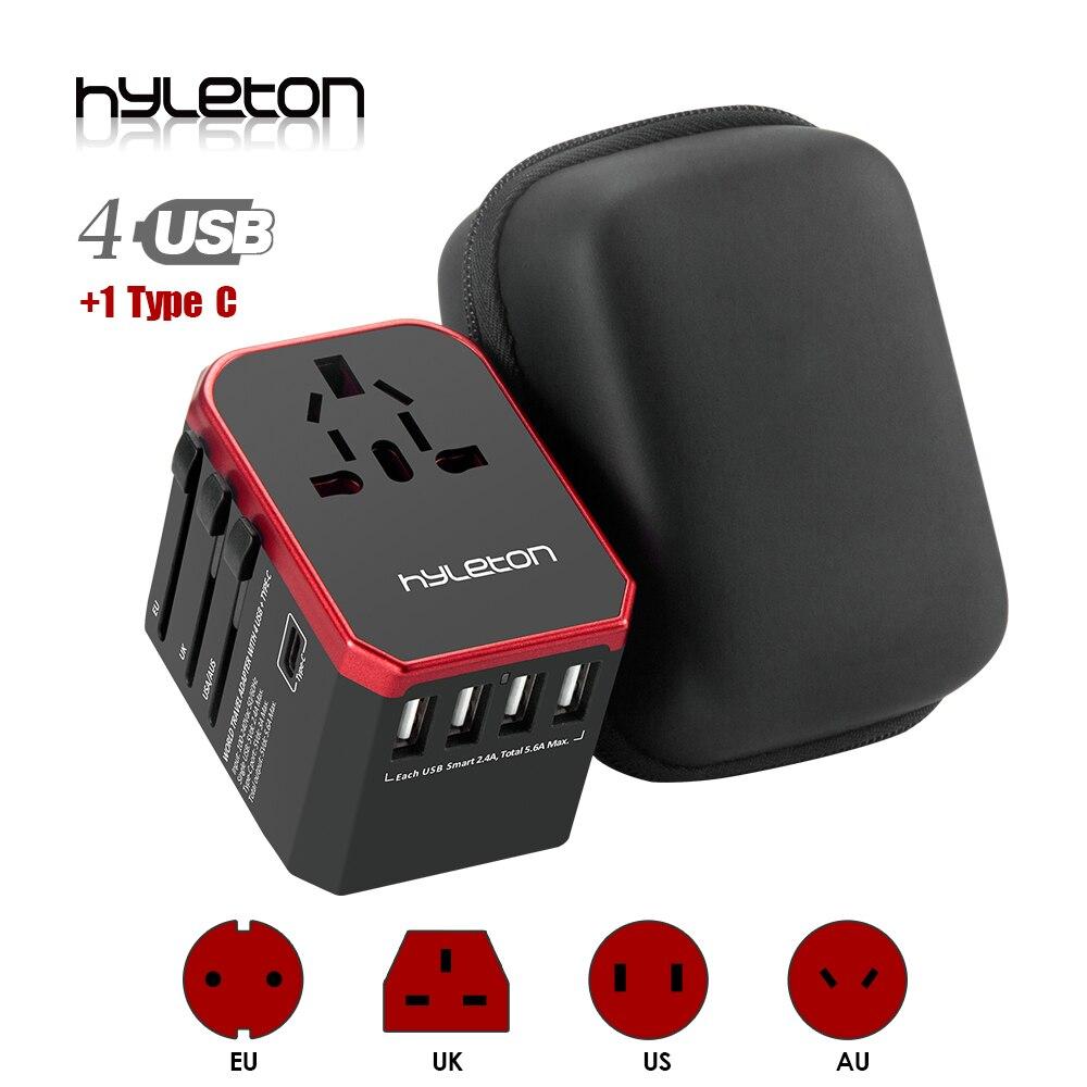 RU estoque Hyleton universal adaptador de viagem adaptador De Energia USB carregador de telefone 4 USB AC Plugues em todo o mundo para NÓS, UE, REINO UNIDO, AU Tipo-C usb