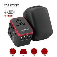 RU stock Hyleton universal travel adapter USB Power adaptor phone charger 4 USB AC worldwide Plugs for US, EU, UK, AU Type C usb