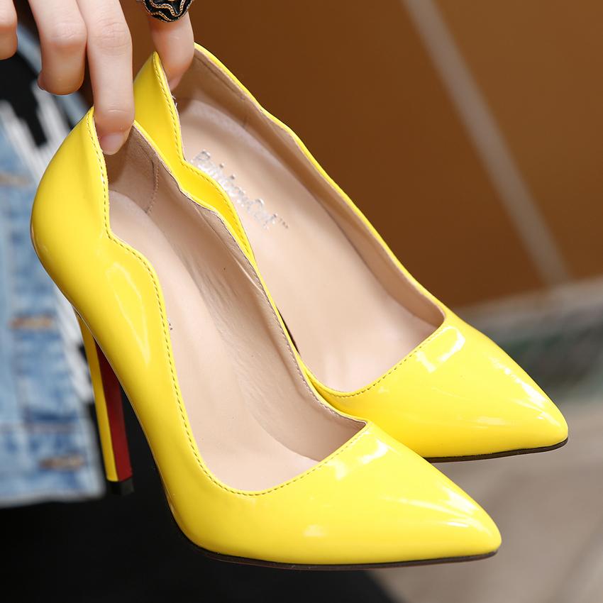 2016 Women s Sexy Red Bottom Pointed Toe High Heels fashion candy colors Patent Leather pumps