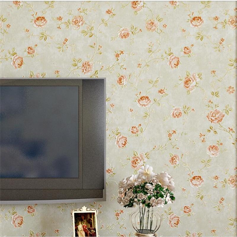 Beibehang American Rural Pastoral Flowers Wallpaper Classic Living Room Bedroom Thick Warm Non-woven Wallpaper Papel De Parede
