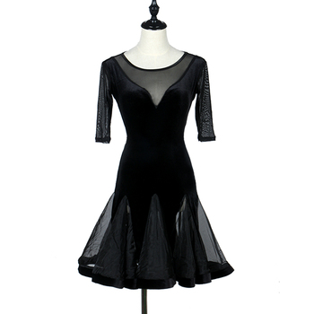 Economic Latin Dancing Dress For Ladies Black Color Silk Skirts Woman Arena Square Sexy Flamenco Ballet Modern Fashions Q11078