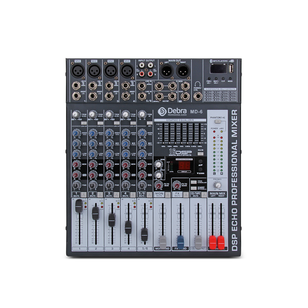 Good quality, Clean sound!!! 6 Channels Mixer Digital Audio dj controller with 48V Phantom Power USB Slot for Recording Stage - 3