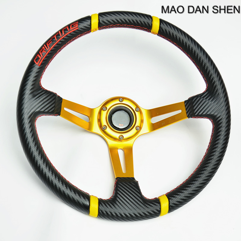 350mm 3 Deep Dish PVC Carrier Racing Steering Wheel Sport Drift Race 14 inch Universal Volante Black / Red / Gold