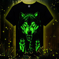 New style high quality men's wear short sleeve tee round O-neck black wolf 3d night luminous fluorescent noctilucent man t-shirt