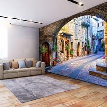 Non-woven Wallpaper – 3D Italian Town Street View European Landscape