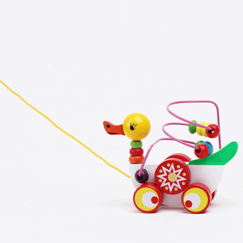 Educational duckling trailer toy mini around beads learning game multicolour children kids puzzle baby infant wooden Toys 7