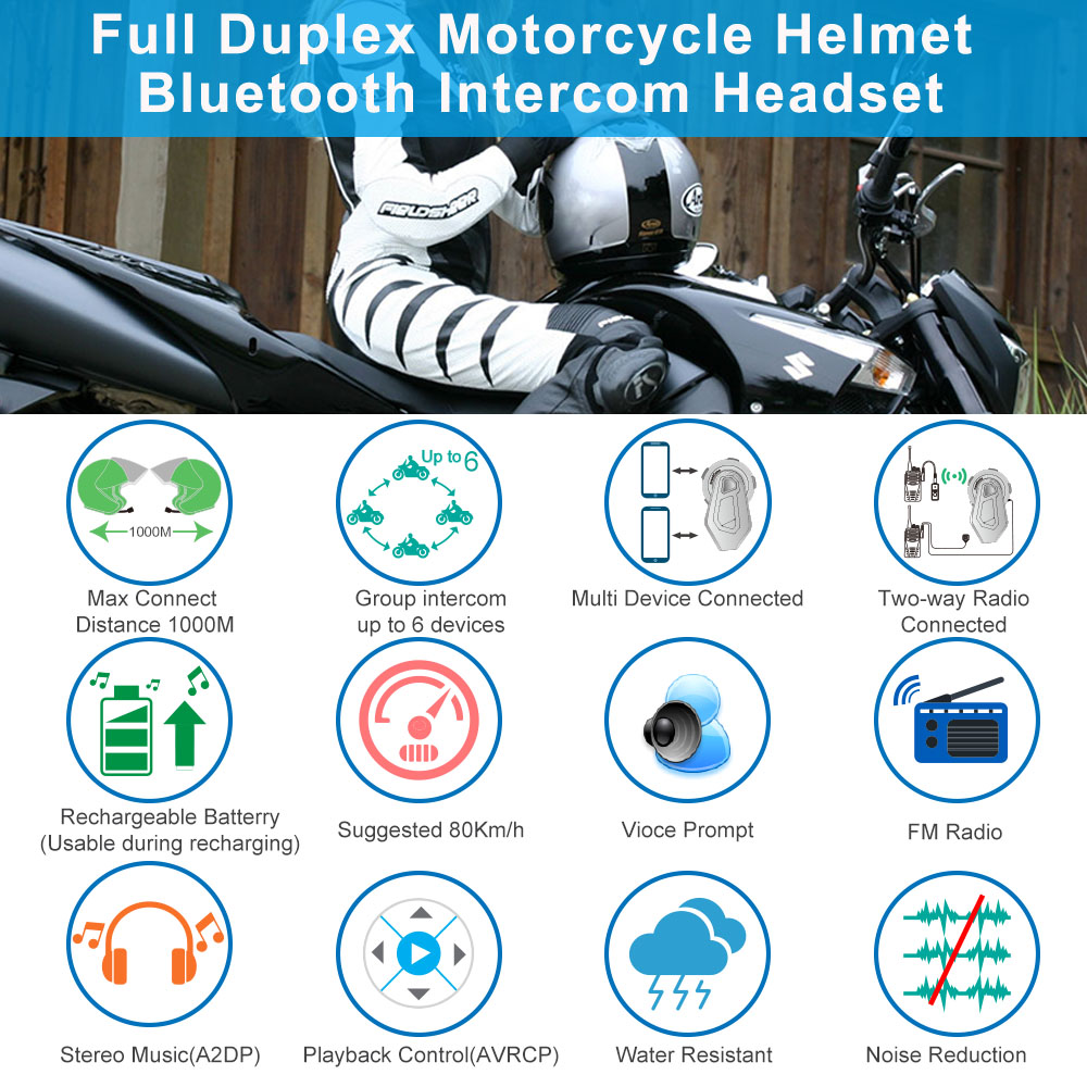 Freedconn T-MAX motorcycle helmet bluetooth headset intercom 6 riders group intercom BT Interphone FM Radio Bluetooth 4.1