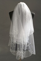 Short Bridal Veil Chic  Elbow Veil with Beads White/Ivory  Wedding Accessories Wedding Veils with Comb
