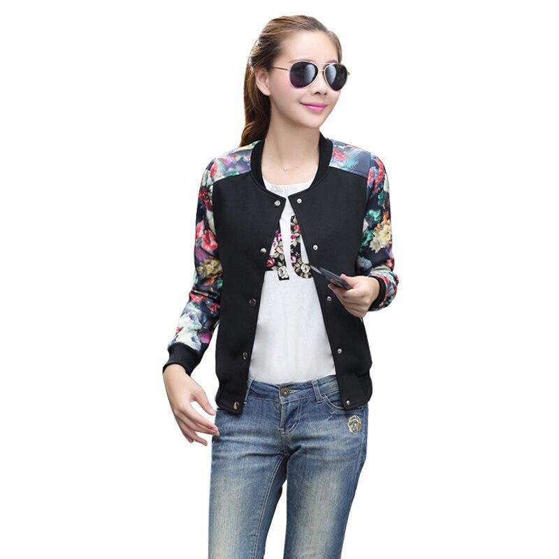 2017 Women Jacket Brand Tops Flower Print Girl Plus Size Casual baseball Sweatshirt Button Thin Bomber Long Sleeves Coat Jackets