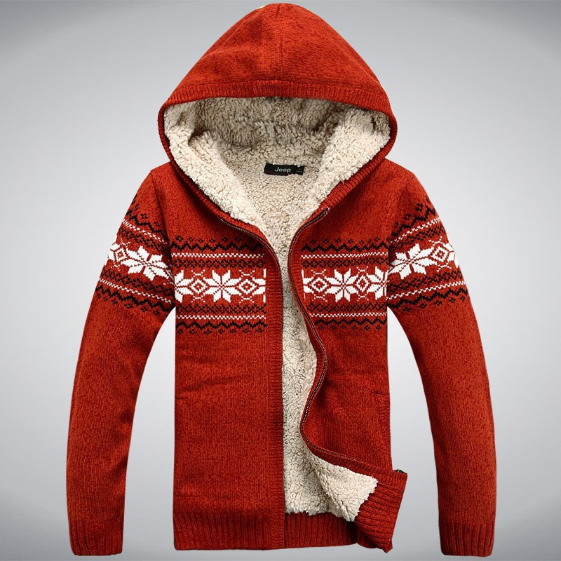 ICPANS  Winter Thicken Fleece Wool Man Sweater Hooded Winter Cardigan our ear New Fashion Cotton  Red Blue Size M L XL XXL