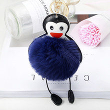 Handmade Fluffy Penguin Keychain Pom Pom Faux Rabbit Fur Puf Ball Bobbles Keyring Women Key Chains Car Styling Jewelry Accessory(China)