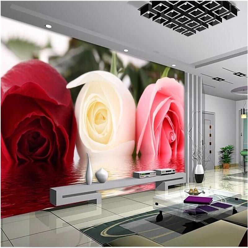 Beibehang Photo Papier Peint De Mode Stereoscopique Rose Fleur