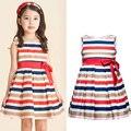 3 - 10 T лето vestido феста infantil трапециевидный полоска девочки одежда хлопок европейский стиль vestido infantil