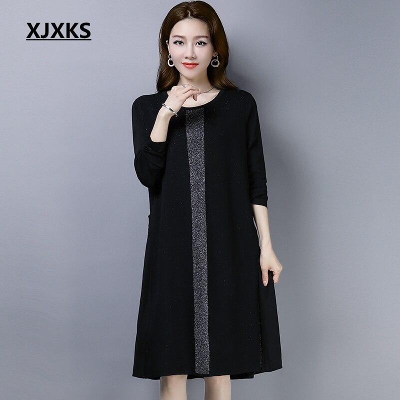 XJXKS 2019 Vintage Dress Modis Girl Black Loose O Neck Linen Dress Women Holiday Long Sleeve