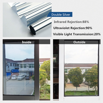 50x300cm película de ventana de plata Sunice de una manera espejo Solar tinte reflectante de vidrio adhesivo Anti-UV control de calor hogar decoración de oficina