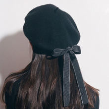 8b8d544159431 New Fashion Back Bow Hat Womens Ladies PU Leather Beret Harajuku Wool  Basque Beret Hat With