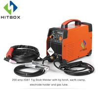 HITBOX Gas Welding Machine TIG200A Single Phase 220V TIG MMA Two Functions IGBT Technology Welder With Accessories