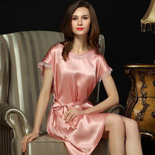 100% Natural Silk Nightgowns Nightdress Feminino Em Torno Do Pescoço de Verão de Manga Curta de Seda Real Das Mulheres Sleepwear S5508