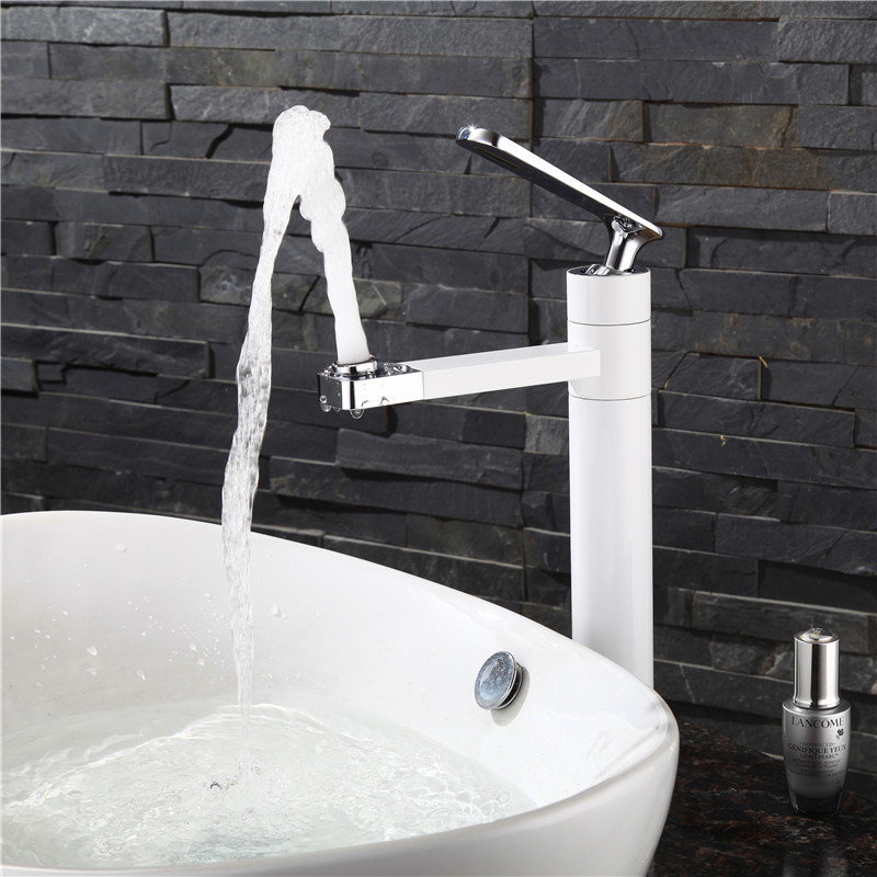 New Arrival White Spray Painting bath sink faucet Bathroom cold and hot tap Crane with Aerator 360 Rotating W3033New Arrival White Spray Painting bath sink faucet Bathroom cold and hot tap Crane with Aerator 360 Rotating W3033