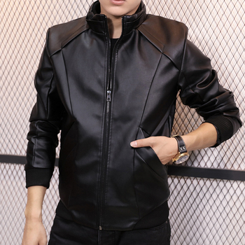 2017 M-5XL plus-size   Autumn and winter slim stand collar male thin water wash PU leather jacket leather clothing outerwear