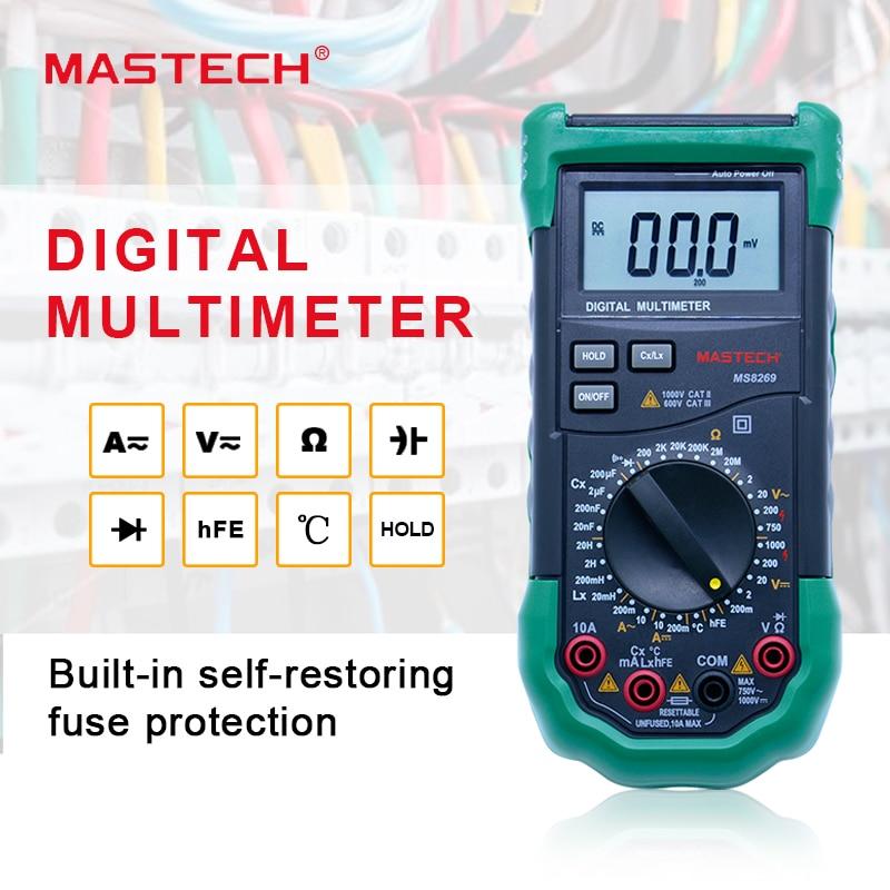 все цены на Digital Multimeter 3 1/2 LCR Meter AC/DC Voltage Current Resistance Capacitance Temperature Inductance Tester Mastech MS8269