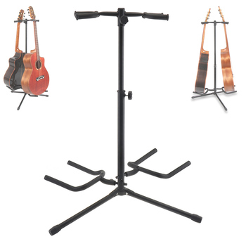 Portable Double Holders Aluminum Alloy Floor Guitars Stand with Stable Tripod for Display 2pcs Acoustic Electric Guitar Bass aluminum alloy floor guitar stand with stable tripod holder for acoustic electric guitar bass guitar stand