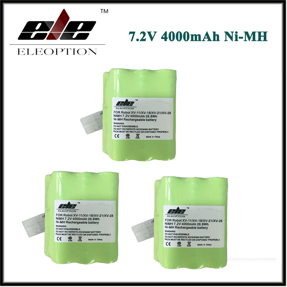 3 pcs 4.0Ah High Quality ELEOPTION New 4000mAh 7.2V Battery For Neato XV Signature Pro XV-11 XV-12 XV-14 XV-15 XV-21 XV-25 2 pcs 7 2v 4500mah battery pack for neato xv 21 xv 11 xv 14 xv 15 robot vacuum cleaner parts neato xv battery signature pro