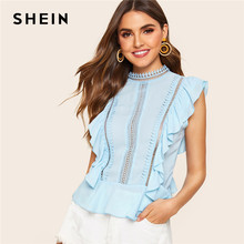 45d422211e SHEIN Ruffle Lace Mock-Neck Peplum Top Blouse Cute Blue Solid Summer Stand  Collar Cap Sleeve 2019 Women Tops And Blouses