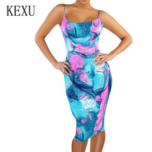 KEXU Sexy Spaghetti Strap Backless Vintage Printed Dress Women Sleeveless Hollow Out Summer Bodycon Vestiges Robe Longue