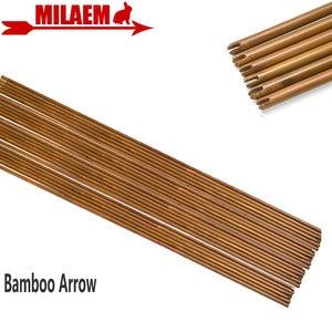 Image 1 - 6/12 pièces tir à larc bambou flèche arbre 83cm bricolage bambou flèche chasse tir composé arc classique flèche cible pratique accessoires