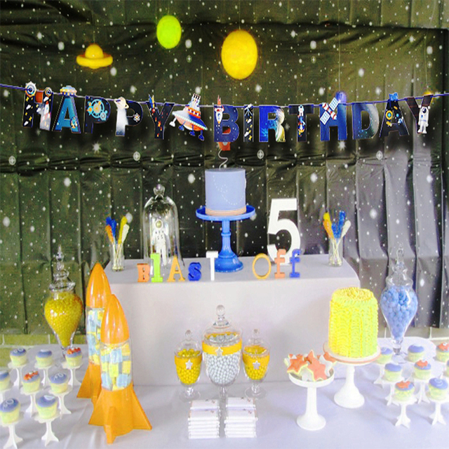 UFO Galaxy Outer Space Birthday Banners Party Decorations Boy Showers Garlands Kids Event Supplies Hanging