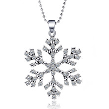 Exquisite Gorgeous Personality Pendant Necklace Silver Eye-catching Love Snowflake Jewelry Decoration party Gift For Lovers