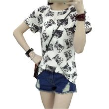 women dress summer   t-shirt korean sweet cartoon cat printed ladies short sleeve tops factory outlets