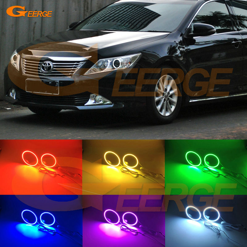 For toyota camry XV50 2011 2012 2013 2014 Excellent Angel Eyes Multi-Color Ultra bright RGB LED Angel Eyes kit Halo Rings for lifan 620 solano 2008 2009 2010 2012 2013 2014 excellent angel eyes multi color ultra bright rgb led angel eyes kit