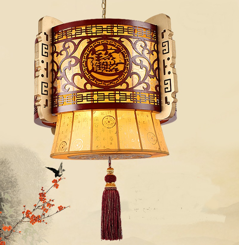 где купить Chinese pendant light wood carving festive classical shrine Lucky treasure project lighting modern sheepskin paper wood LU715 по лучшей цене