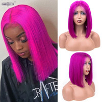 Short Bob Wig Remy Straight Brazilian Lace Front Human Hair Wigs for Women Colorful 13x4 Lace Frontal Wig Purple Color 0687