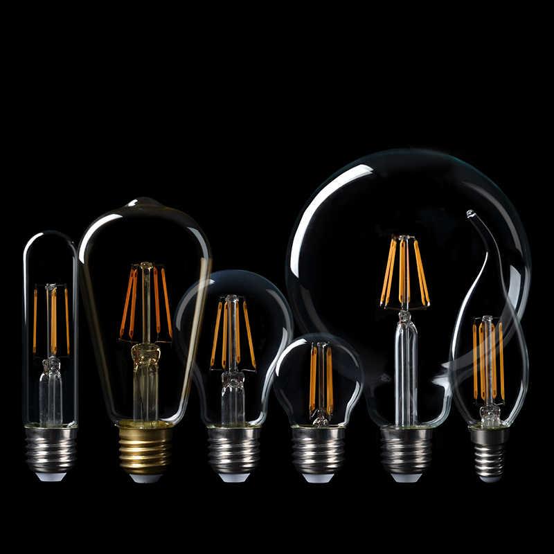 LED لمبات الشعيرة E27 الرجعية اديسون مصباح 220V E14 خمر شمعة ضوء E27 E14 الحقيقي واط 2W 4W 6W 8W خمر LED اديسون لمبة