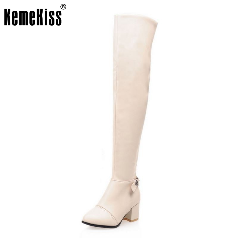 Size 32-46 Women High Heel Over Knee Boot Winter Botas Masculina Warm Long Boots Riding Fashion Quality Footwear Shoes rizabina size 32 48 women square high heel over knee boot winter warm british boots knight long botas sexy footwear shoes p21743