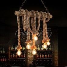 País de américa araña de bambú de cáñamo Café de bambú lámpara de araña de luz tienda de ropa retro industrial restaurante