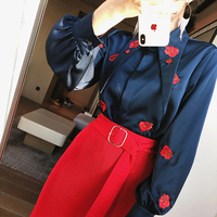 2018 Spring New Arrival Women Pure Color Satin Rose Floral Embroidery Long Sleeve Tip Collar Slim All match Shirts Blouses Tops