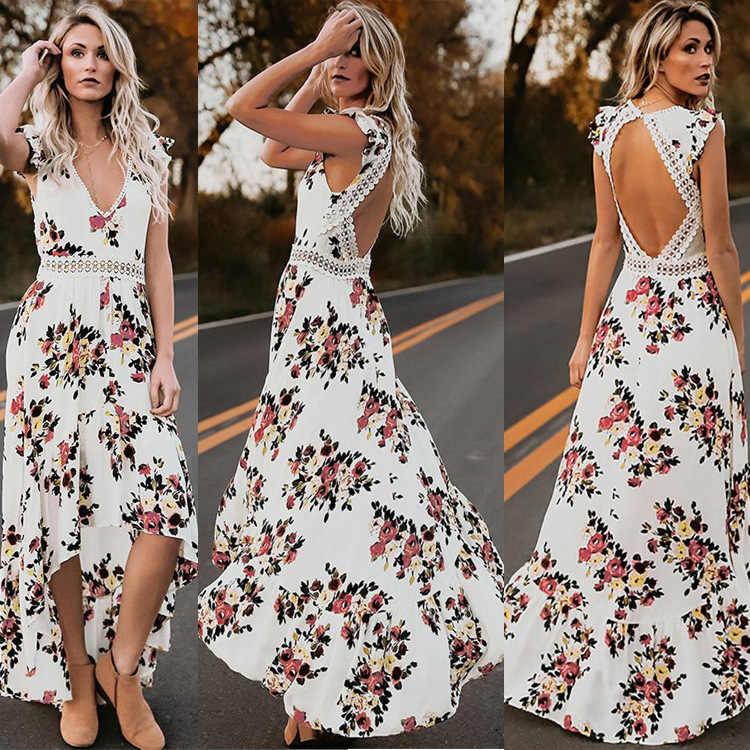 f07b590e0ff68 ... 2018 спинки длинное летнее пляжное платье для женщин Sexy Глубокий V  цветочный шифон платье макси спереди ...